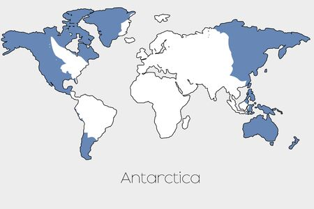 antartica: A Flag Illustration inside the shape of a world map of the country of  Antartica
