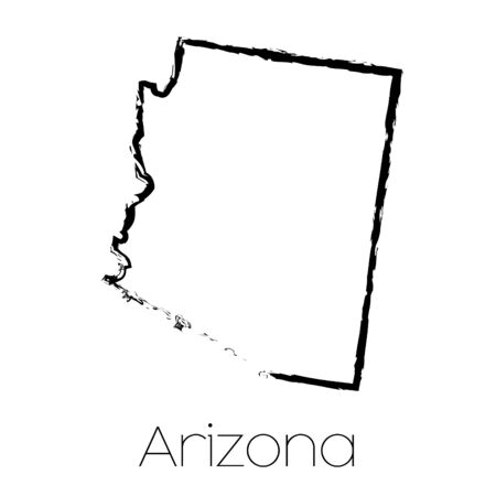 arizona: A Scribbled shape of the State of Arizona Stock Photo