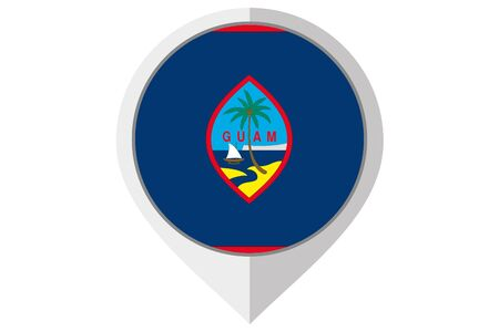 guam: A Flag Illustration inside a pointed of the country of Guam