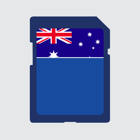 micro chip: An Illustrated memory card with the flag of Australia Stock Photo