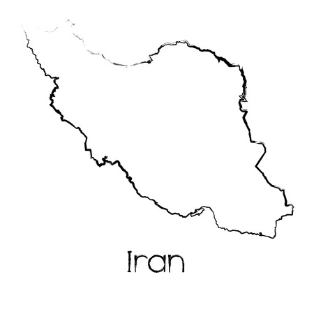 scribbled: A Scribbled Shape of the Country of Iran Stock Photo