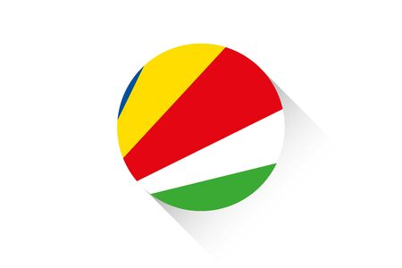 seychelles: A Round flag with shadow of Seychelles