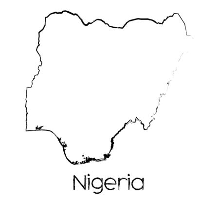 country nigeria: A Scribbled Shape of the Country of Nigeria Stock Photo