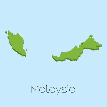 malaysia: A 3D map on blue water background of Malaysia
