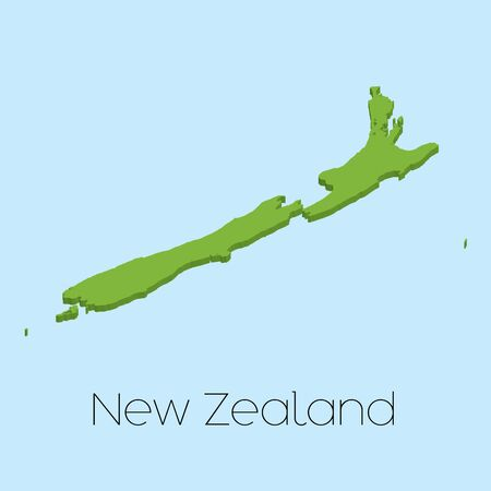newzealand: A 3D map on blue water background of NewZealand Stock Photo
