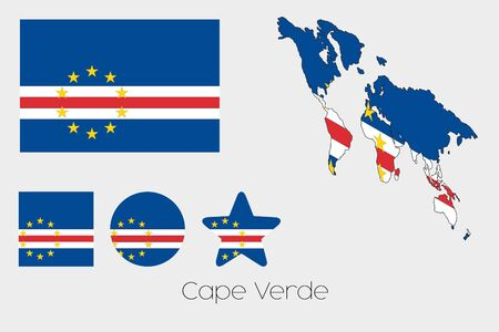 verde: Illustrated Multiple Shapes Set with the Flag of Cape Verde