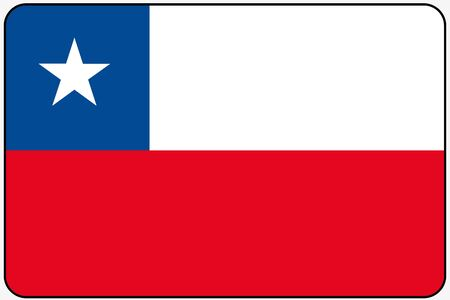 black flag: A Flat Design Flag Illustration with Rounded Corners and Black Outline of the country of Chile