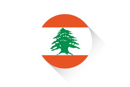 lebanon: A Round flag with shadow of Lebanon Stock Photo