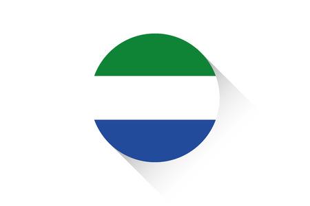 sierra: A Round flag with shadow of Sierra Leone