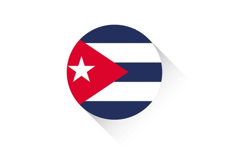 flag of cuba: A Round flag with shadow of Cuba