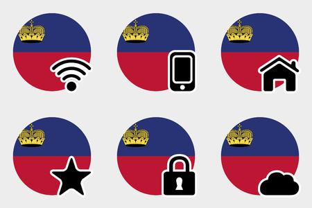 liechtenstein: A Web Icon Set with the Flag of Liechtenstein Stock Photo