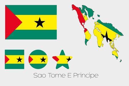 principe: Illustrated M�ltiples Formas Set con la Bandera de Santo Tom� y Pr�ncipe