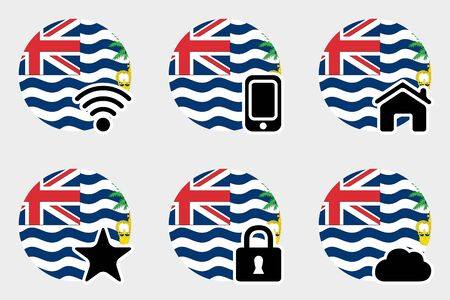 indian ocean: A Web Icon Set with the Flag of British Indian Ocean Territory Stock Photo