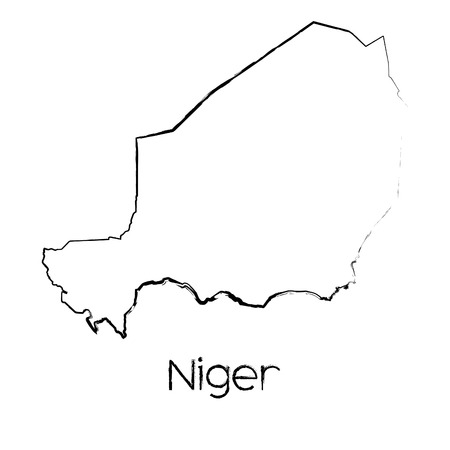 niger: A Scribbled Shape of the Country of Niger
