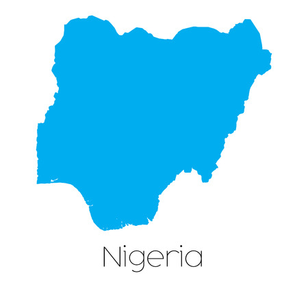 country nigeria: A Blue shape with name of the country of Nigeria Stock Photo