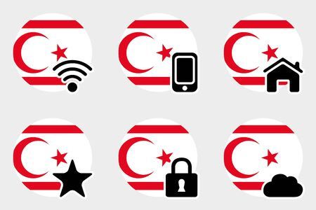 A Web Icon Set with the Flag of Northern Cyprus