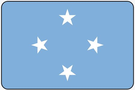 micronesia: A Flat Design Flag Illustration with Rounded Corners and Black Outline of the country of Micronesia Stock Photo