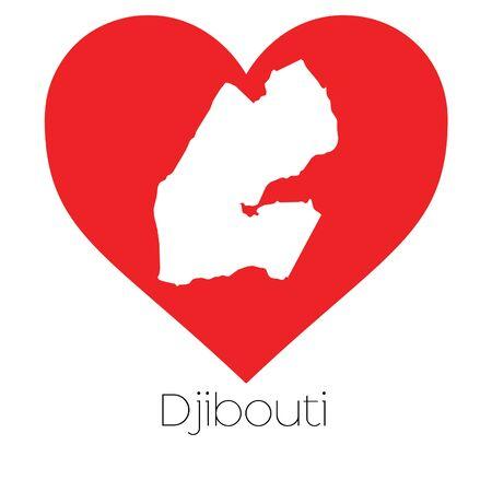djibouti: A Heart illustration with the shape of Djibouti