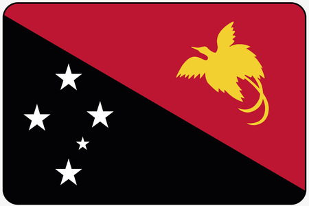papua: A Flat Design Flag Illustration with Rounded Corners and Black Outline of the country of Papua New Guinea