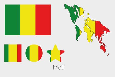 mali: Illustrated Multiple Shapes Set with the Flag of Mali