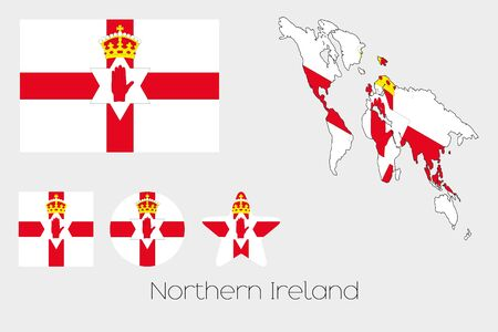 Illustrated Multiple Shapes Set with the Flag of Northern Ireland