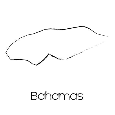 scribbled: A Scribbled Shape of the Country of Bahamas Stock Photo