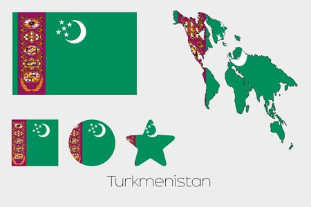 turkmenistan: Illustrated Multiple Shapes Set with the Flag of Turkmenistan Stock Photo
