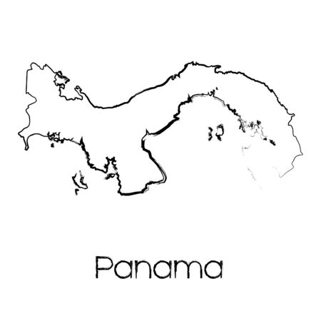panama: A Scribbled Shape of the Country of Panama