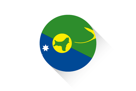 christmas concept: A Round flag with shadow of Christmas Island Stock Photo