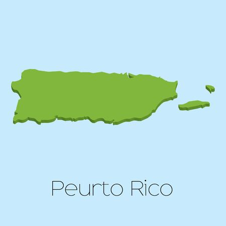 puertorico: A 3D map on blue water background of PuertoRico Stock Photo