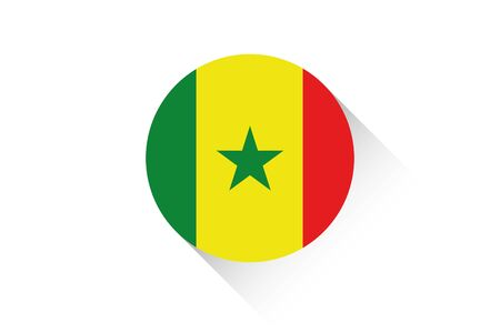 senegal: A Round flag with shadow of Senegal