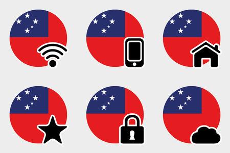 samoa: A Web Icon Set with the Flag of Western Samoa Stock Photo