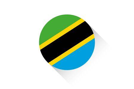 tanzania: A Round flag with shadow of Tanzania