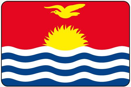 kiribati: A Flat Design Flag Illustration with Rounded Corners and Black Outline of the country of Kiribati Stock Photo
