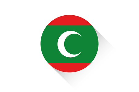 maldives: A Round flag with shadow of Maldives Stock Photo