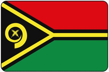 vanuatu: A Flat Design Flag Illustration with Rounded Corners and Black Outline of the country of Vanuatu Stock Photo
