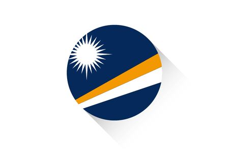 marshall: A Round flag with shadow of Marshall Islands