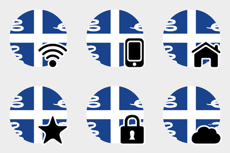 martinique: A Web Icon Set with the Flag of Martinique Stock Photo