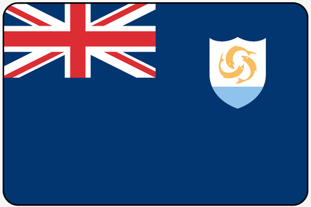 anguilla: A Flat Design Flag Illustration with Rounded Corners and Black Outline of the country of Anguilla Stock Photo