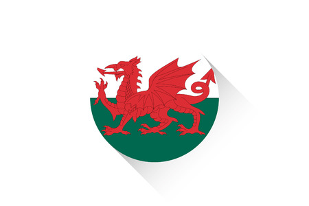 wales: A Round flag with shadow of Wales