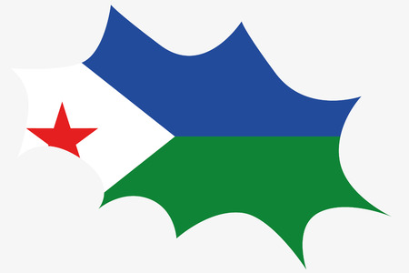 djibouti: An Explosion wit the flag of Djibouti Stock Photo