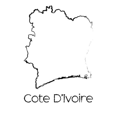 cote: A Scribbled Shape of the Country of Cote Divoire