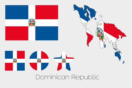 dominican: Illustrated Multiple Shapes Set with the Flag of Dominican Republic