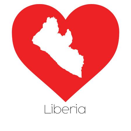 liberia: A Heart illustration with the shape of Liberia