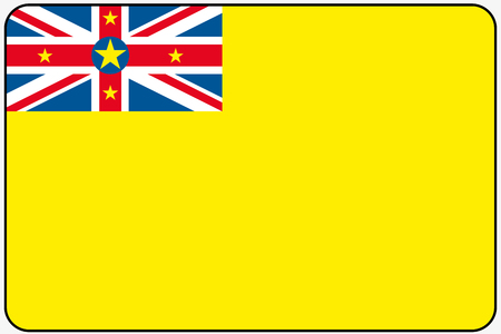 niue: A Flat Design Flag Illustration with Rounded Corners and Black Outline of the country of Niue