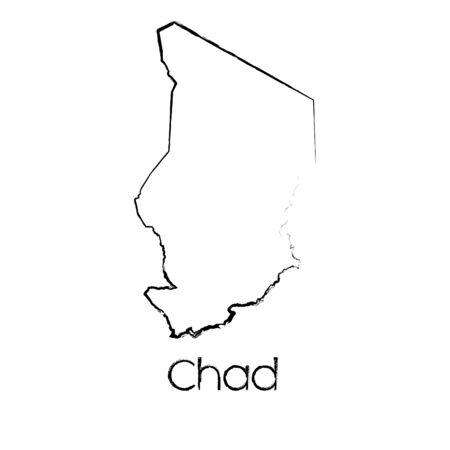 scribbled: A Scribbled Shape of the Country of Chad Stock Photo