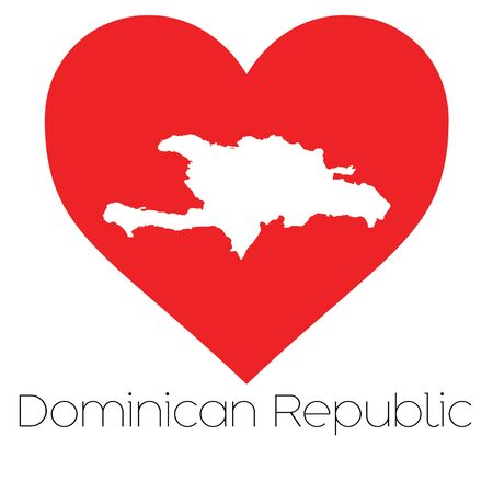 dominican: A Heart illustration with the shape of Dominican Republic
