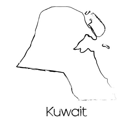 scribbled: A Scribbled Shape of the Country of Kuwait Stock Photo