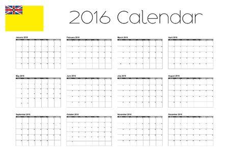 niue: A 2016 Calendar with the Flag of Niue Stock Photo
