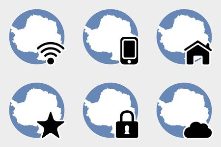 antartica: A Web Icon Set with the Flag of Antartica